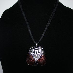 Black silver and burgundy necklace